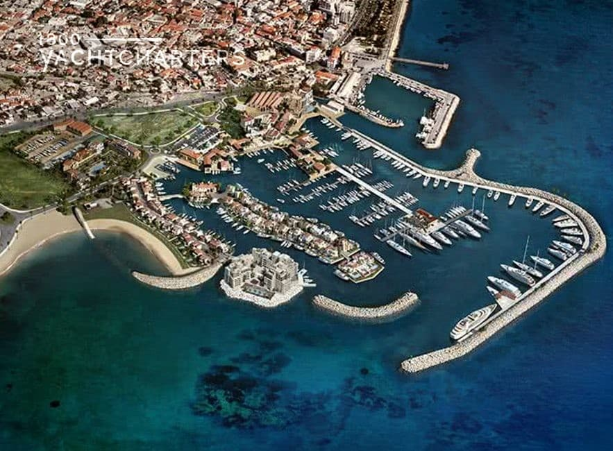 Aerial photograph of Limassol Marina in Cyprus