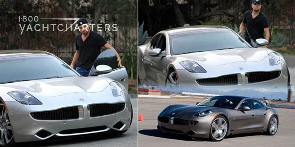 Photo collage of Leonardo diCaprio standing next to his new silver hybrid sportscar. A third photo in the collage is of the same sportscar on a racetrack.