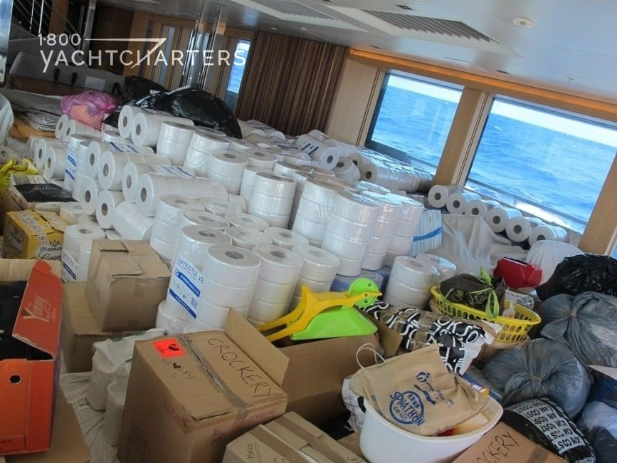Photograph of supplies aboard yacht BIG FISH that the yacht is delivering to victims of Cyclone Evan