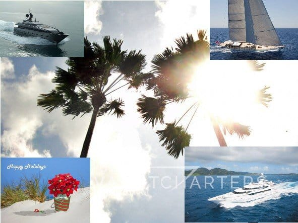 Photos. Palm trees in center of image. Top left is a motoryacht coming into the center. Top right is a sailboat. Bottom right is a motoraycht underway, heading toward the lower left side of the photo. Bottom left photo is a poinsettia plant sitting on the sand with the words Happy Holidays written in script across it.
