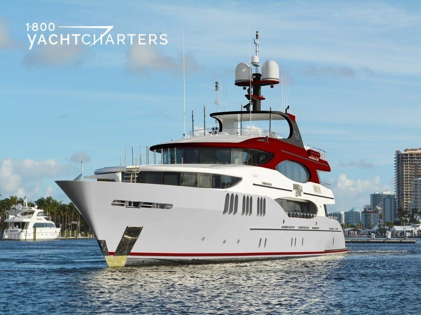 Photograph of AMARULA SUN motoryacht with grey hull and red accents