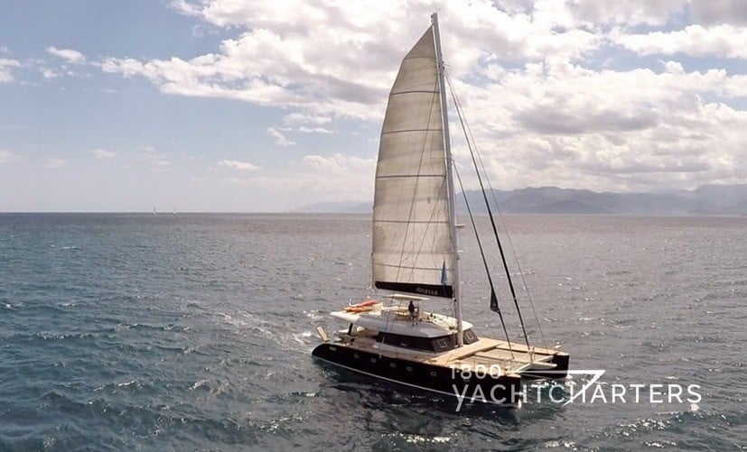 ANASSA catamaran underway on wide open ocean