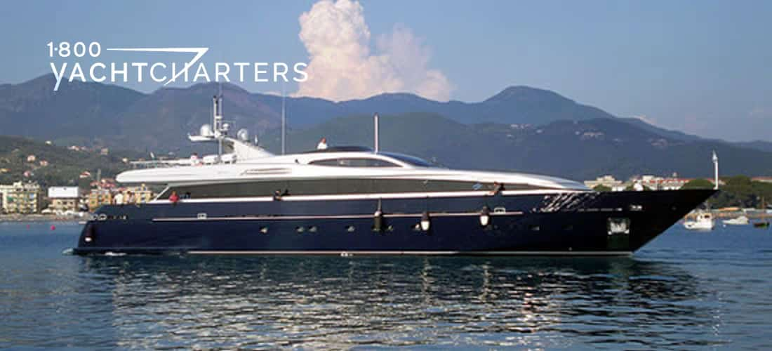 Motoryacht BILLA profile facing right - superyacht with dark blue hull and white superstructure