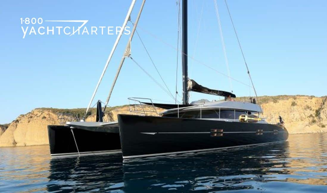 BLACK SWAN catamaran at anchor 1800yachtcharters