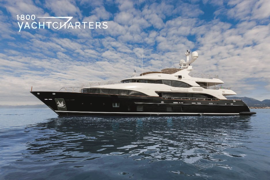 Profile of yacht CHECKMATE, facing left. Yacht has black hull with white superstructure