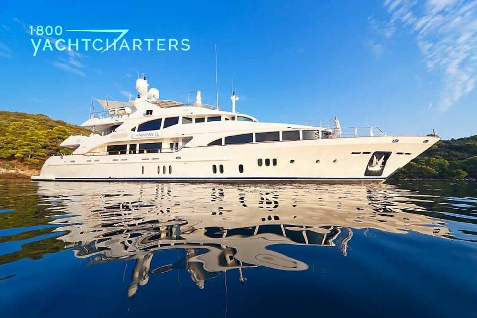 Superyacht HARMONY III profile. At anchor. She is facing the right side of the photograph.