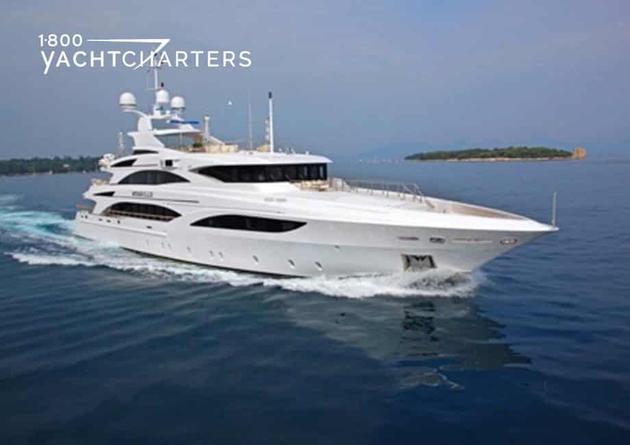 Motoryacht ILLUSION V, headed to the right of screen