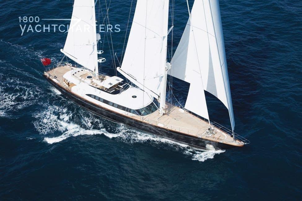 Aerial photograph of sailboat Panthalassa under sail