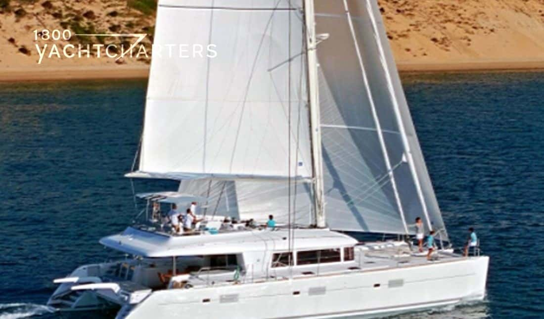 Catamaran sailboat under sail