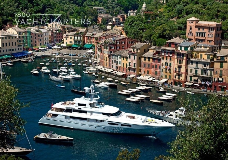 Anchored in Portofino - surrounded by smaller yachts