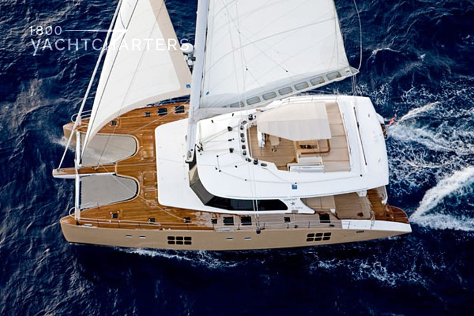 Aerial view of yacht under sail