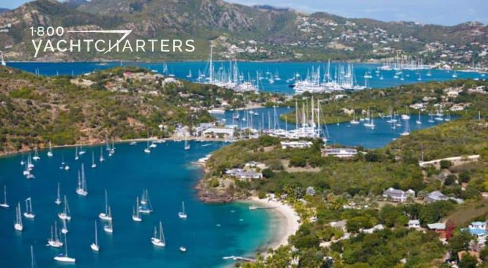 Aerial view of Antigua yacht charter show yachts in a marina and docked on the water