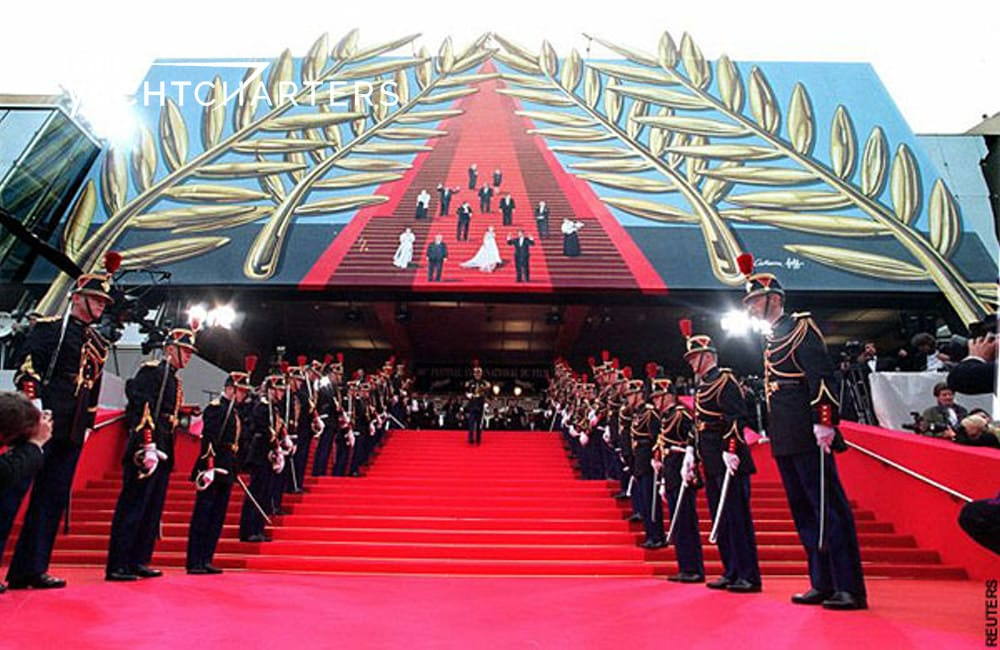 Red carpeted entryway to Cannes Film Festival