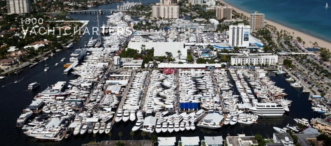 Aerial view of marina full of superyachts