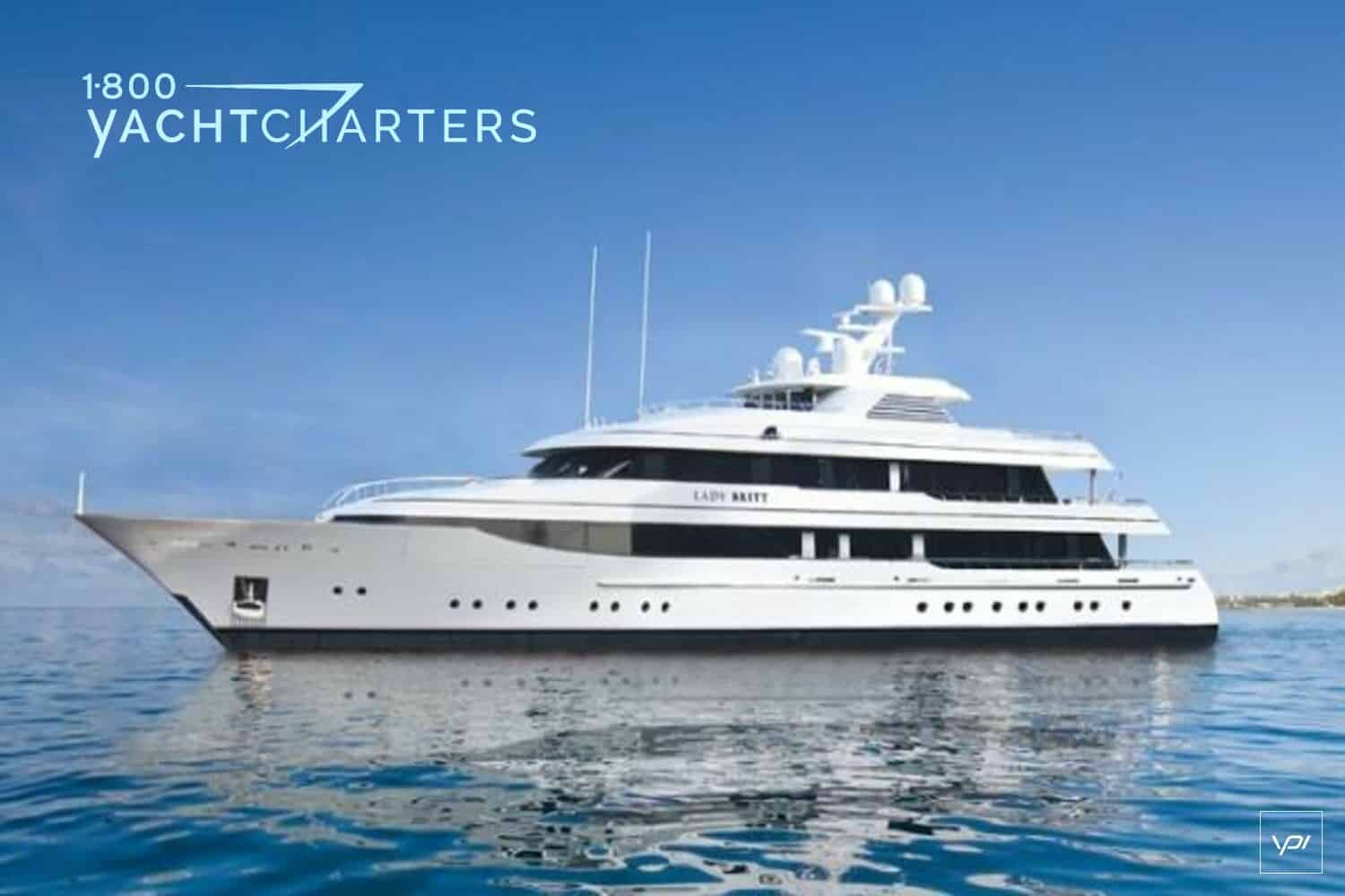 Profile of superyacht Lady Britt. She is facing the left side of the photograph. She is at anchor.