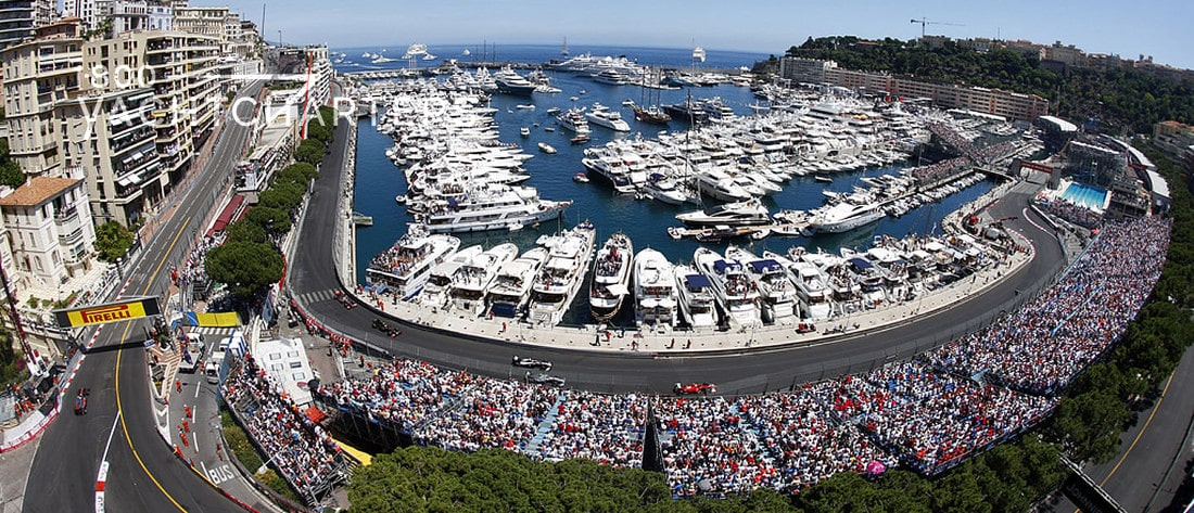 Aerial view of Monaco Grand Prix arena and racetrack
