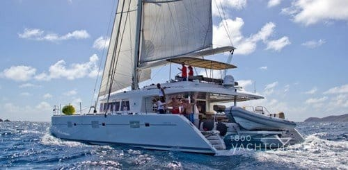 The Cure Lagoon 620 caribbean catamaran charter boat side profile