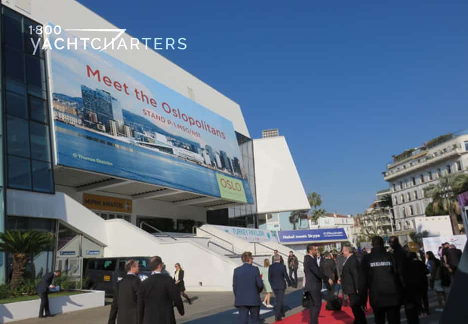 Cannes France building with red carpet introducing attendees to MIPIM property management conference