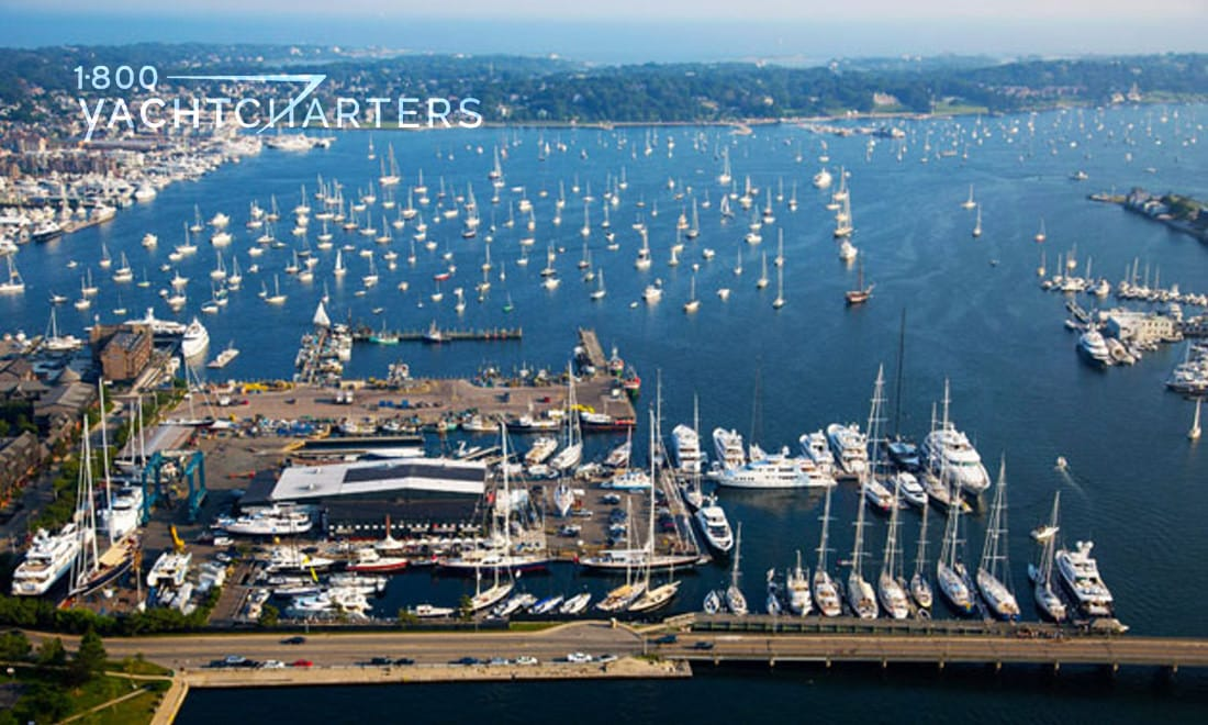 Aerial view of Newport Marina full of yachts