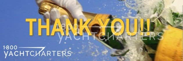 champagne bottle thank you for your yacht charter inquiry