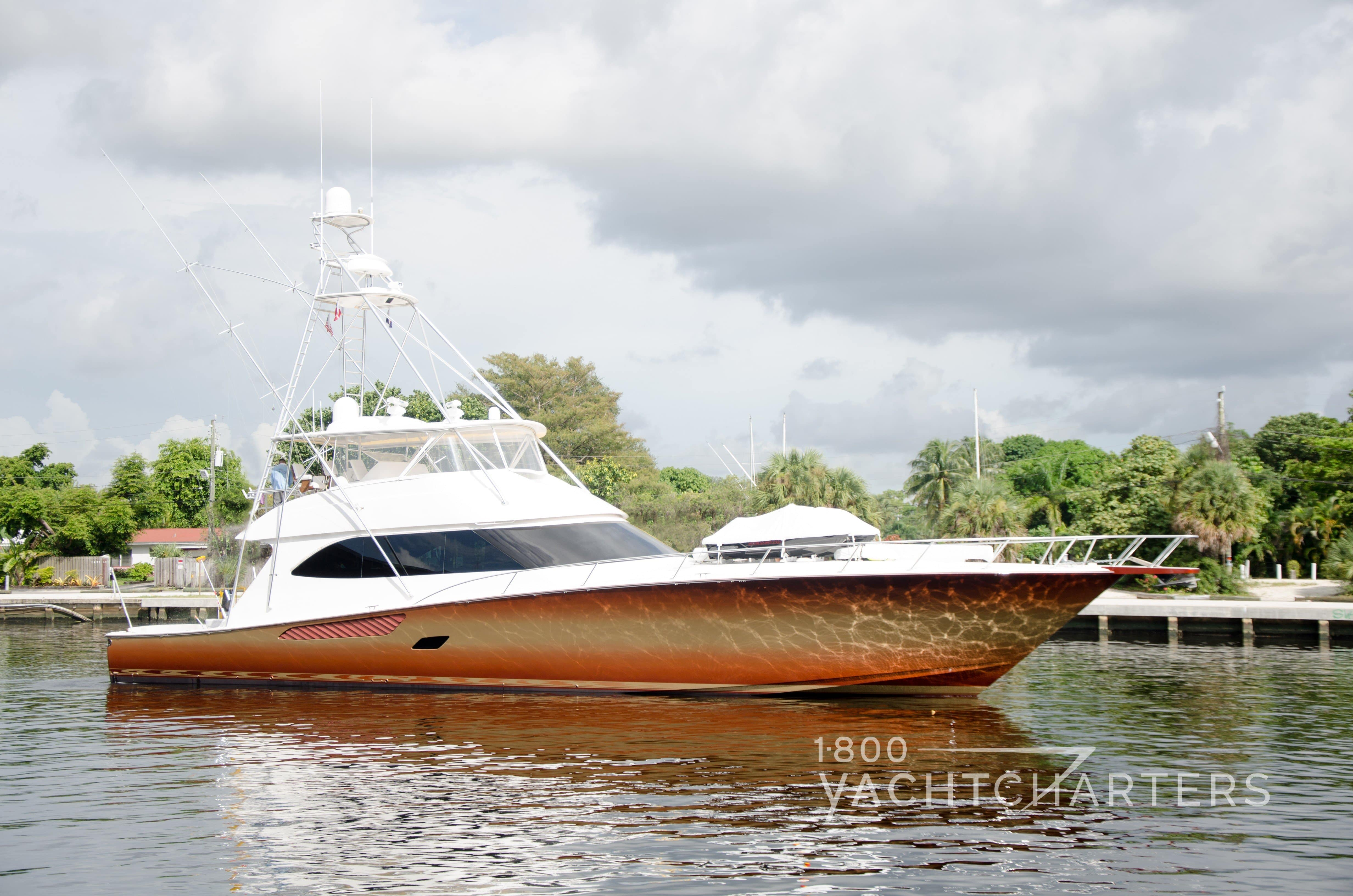 MUSTANG SALLY 82 Viking motoryacht profile facing to the right with rust-colored hull and white superstructure