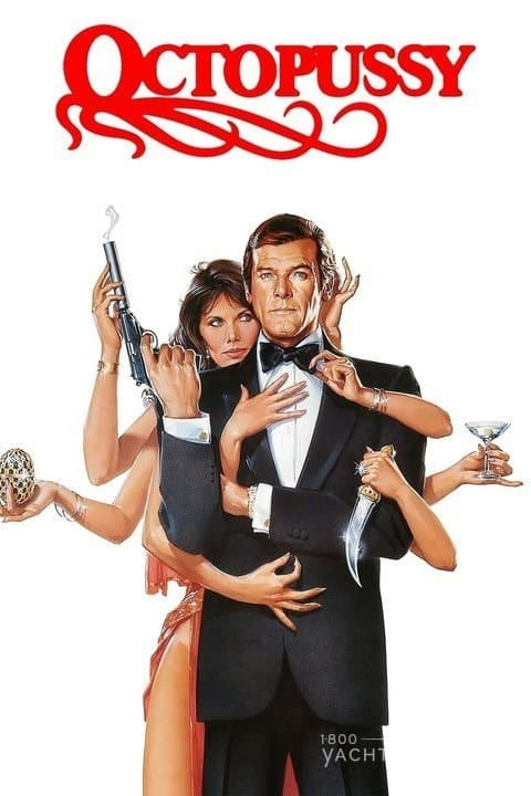 james bond 007 octopussy film poster picture starring roger moore and maude adams showing maude with 8 arms and roger holding gun