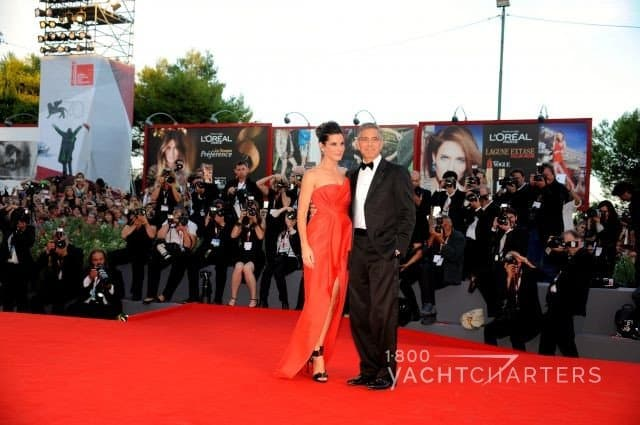 George Clooney and date on the red carpet at the Venice Film Festival