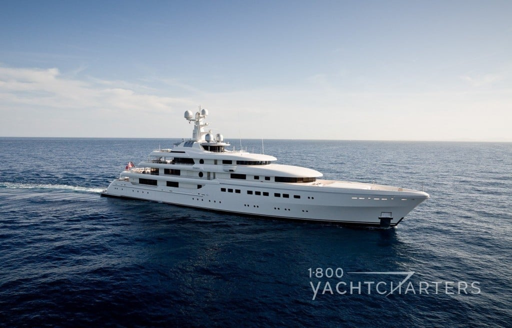 ROMEA white superyacht underway, facing right side of screen