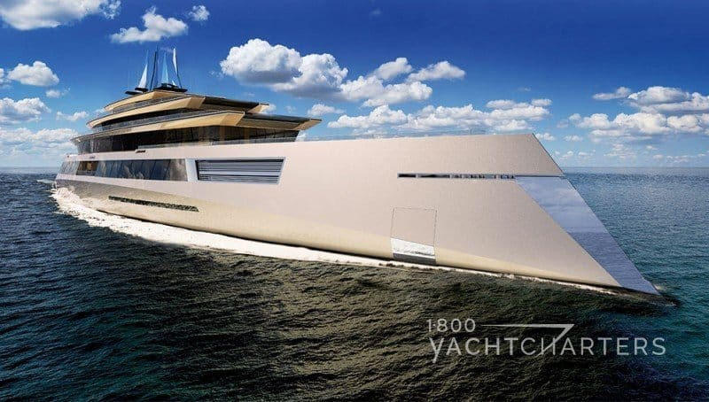 Profile of huge futuristic-looking concept yacht