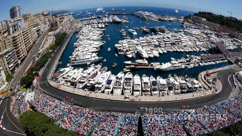 Monaco Grand Prix with yachts docked along the quay