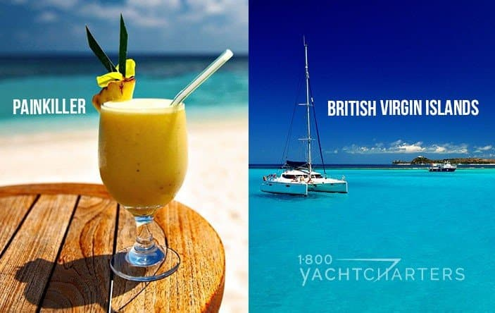 Left side photo is a frozen painkiller drink with straw and right hand photo is sailboat anchored with british virgin islands written on it