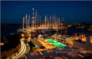 View of marina at night