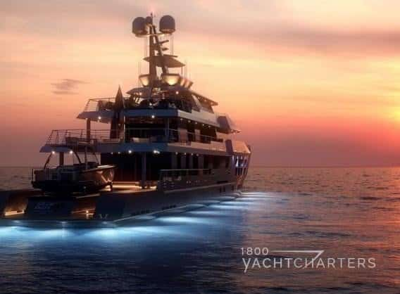 motoryacht on water at sunset