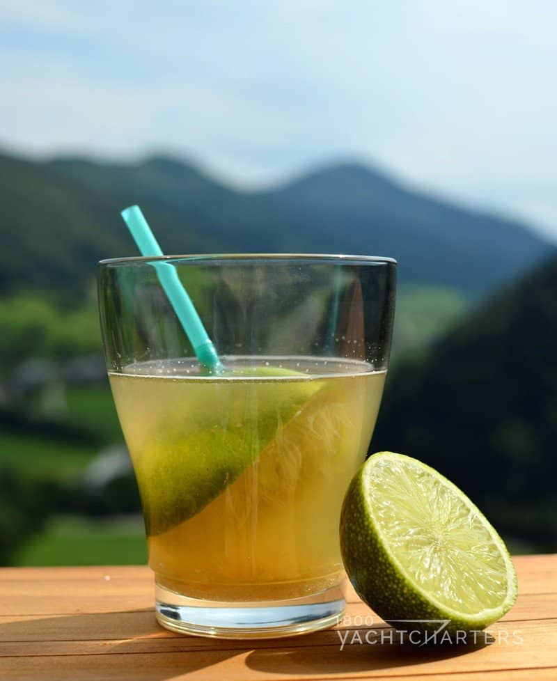 Picture of a Ti Punch cocktail on a wooden table