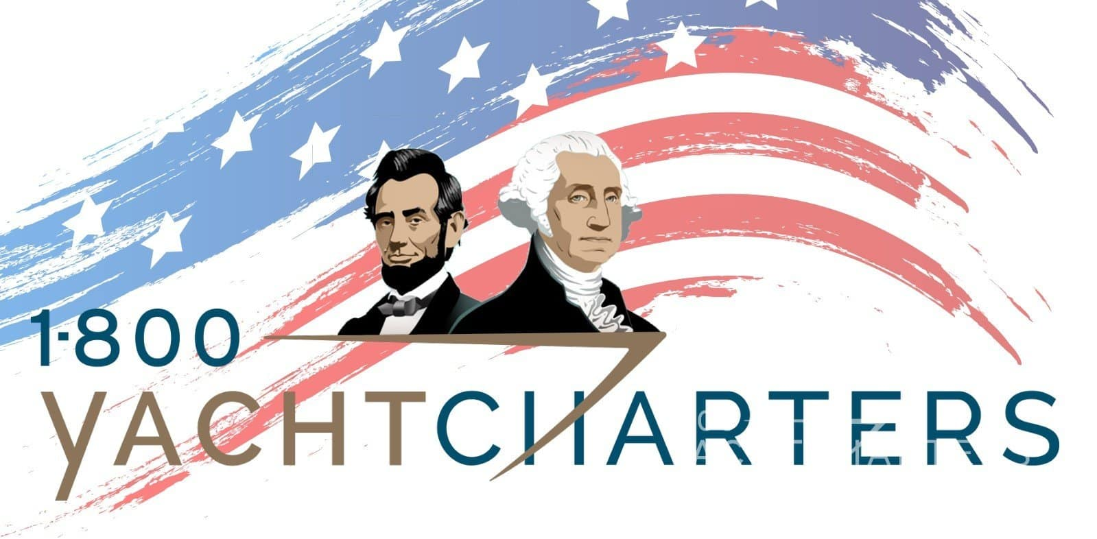 Logo with American flag in background and Abe Lincoln and George Washington silhouettes sitting atop of logo