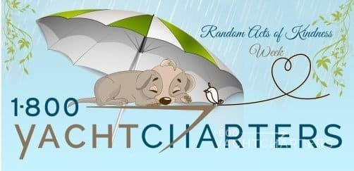 Logo with animated dog under umbrella that says Random Acts of Kindness Week