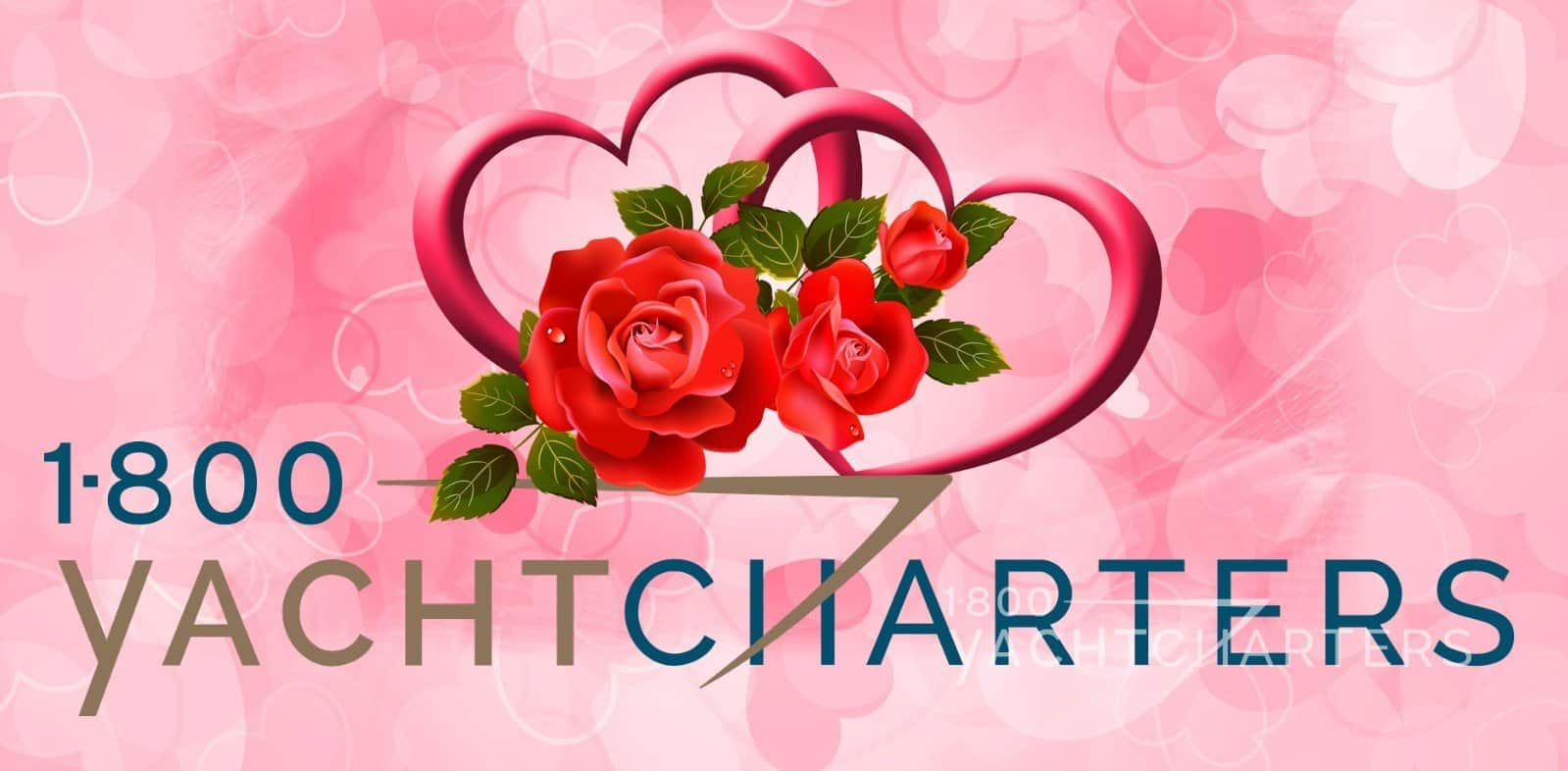 Logo decorated with hearts and red roses