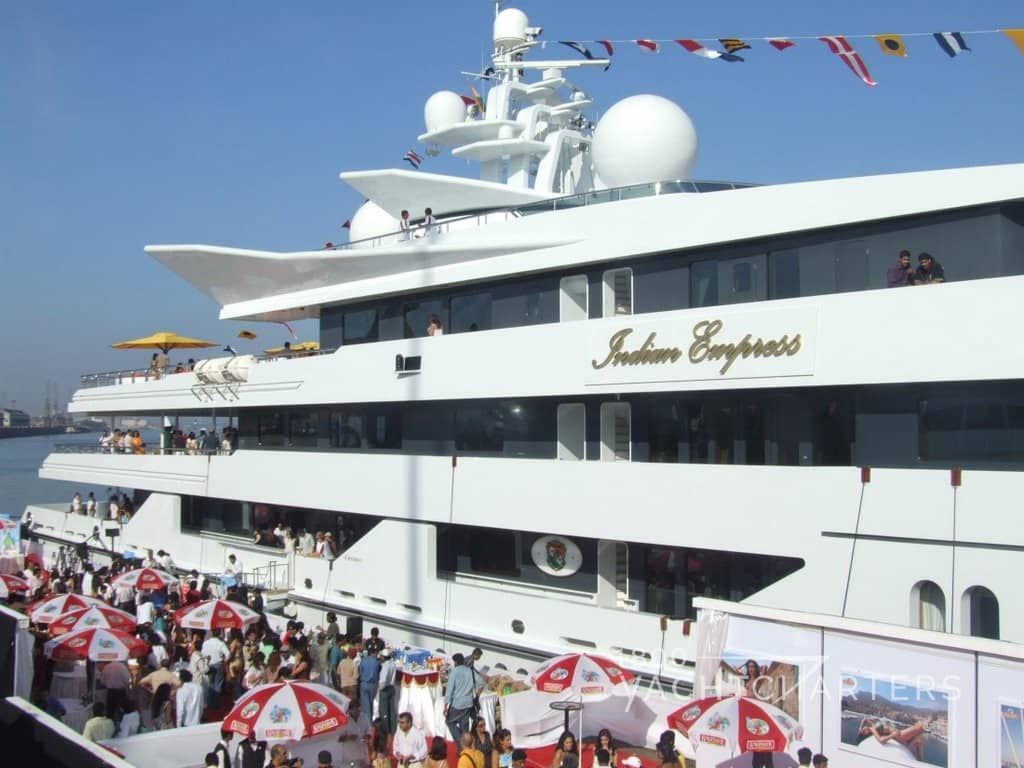 Indian Empress yacht charter motoryacht at dock