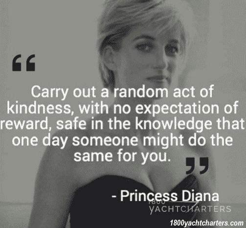 Princess Diana random act of kindness quote over a photo of her
