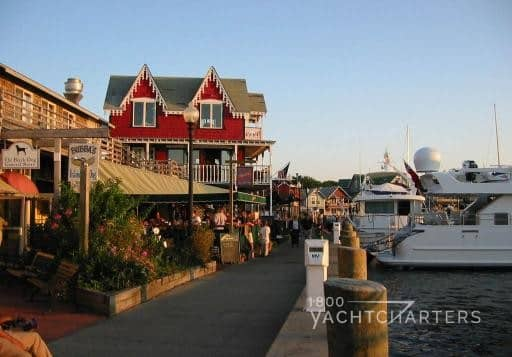 Marthas Vineyard private yacht marina boardwalk