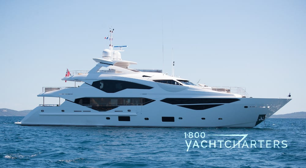 E-MOTION motoryacht profile photograph. She is facing the right side of the picture