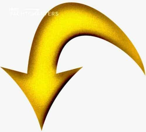 Drawing of yellow downward arrow. The head of the arrow is the at left side of the image. It is yellow with dark shadowing around the edges in a gradient pattern. The arrow body continues and curves up and to the right, then it goes back downward. Stylized graphic arrow.
