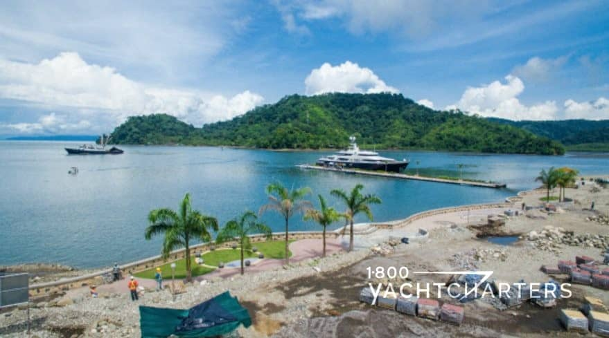 Costa Rica Golfito superyacht marina next to a beach which will be used by yacht charter guests