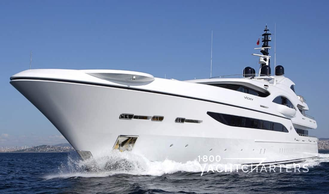 VICKY cannes yacht charter boat bow quarter profile