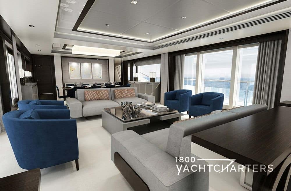 Fleur Sunseeker main salon interior grey blue beige