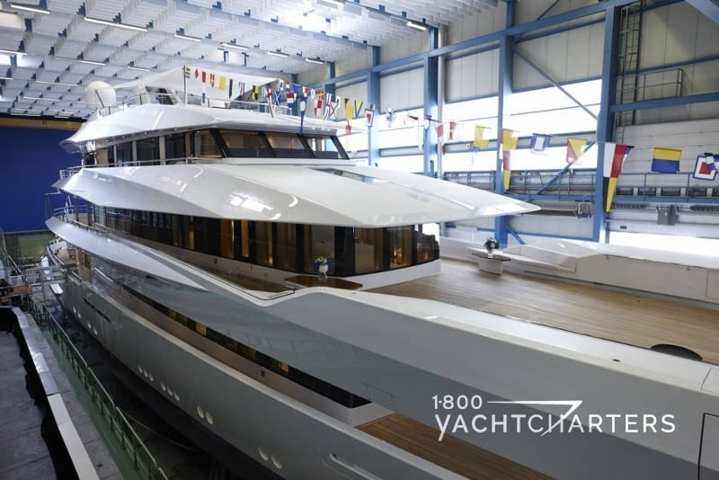 Feadship JOY in the factory on launch day