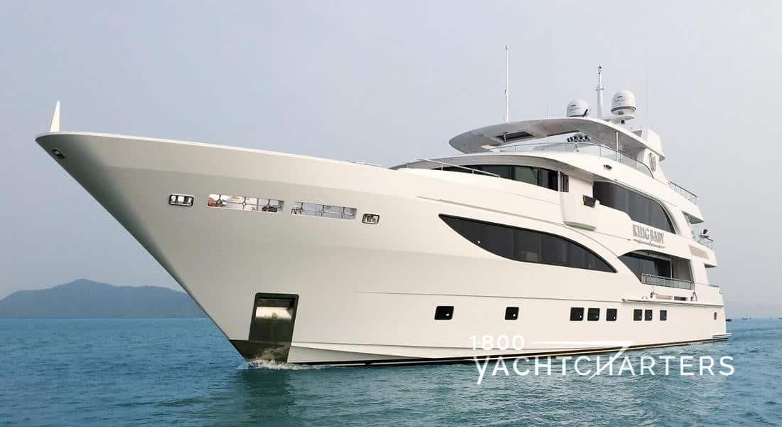 KING BABY charter yacht bow profile