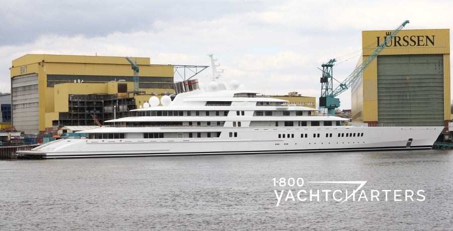 Lurssen shipyard with yacht Azzam in water