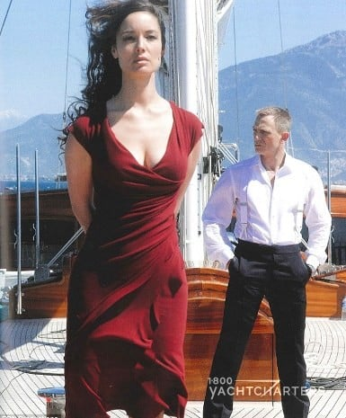Daniel Craig as James Bond on sailing yacht Regina also known as Chimera on movie Skyfall