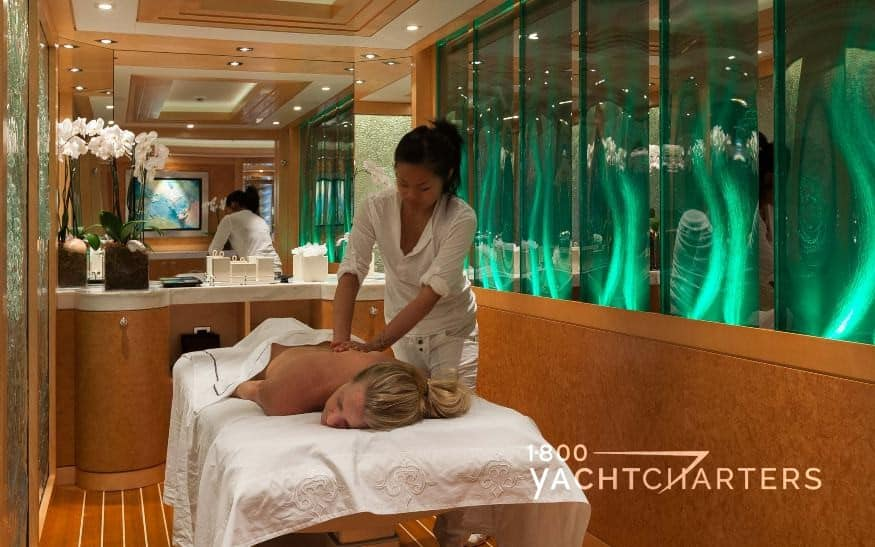 Wellness massage room on yacht SOLANDGE